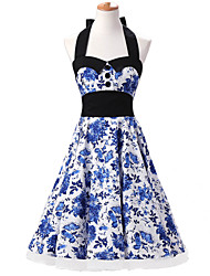 50s Era Vintage Style Halter Neck Buttons Rockabilly Dress Cosplay Costume Blue and White Floral (with Petticoat)