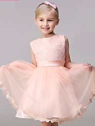 AMGAM A-line Short / Mini Flower Girl Dress - Lace Tulle Jewel with Bow(s) Sash / Ribbon