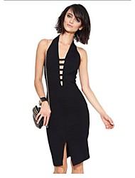 Women's Solid Bodycon Dress,Deep V Knee-length Acrylic / Polyester