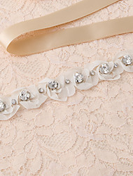 Satin Wedding / Party/ Evening / Dailywear Sash-Appliques / Pearls / Floral / Rhinestone Women's 98 ½in(250cm)Appliques / Pearls / Floral