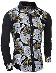 Men's Print Casual / Formal Shirt,Cotton Long Sleeve Black