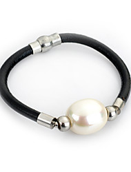 Bracelet Chaînes & Bracelets / Bracelets Wrap / Bracelets en cuir / Bracelet de survie / Bijoux gothique Perle / Cuir / Plaqué argent