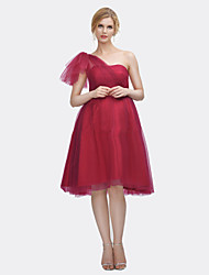 Knee-length Satin / Tulle Bridesmaid Dress A-line One Shoulder with Draping