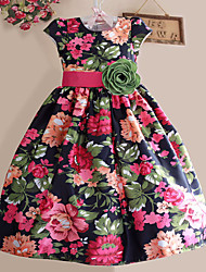 Girls Black Big Flower High Quality Belt Party Pageant Christmas Child Clothes Dresses