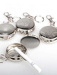Stainless Steel Portable Round Cigarette Ashtray With Keychain Outdoor Ashtray