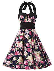 Women's Navy Blue Floral Dress , Black Collars Big Buttons Vintage Halter 50s Rockabilly Swing Dress