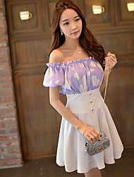 Women's Sexy / Cute Geometric Sheath / Swing Dress,Boat Neck Mini Polyester / Spandex