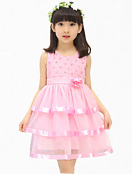 Girl's Pink / Purple Dress,Lace Cotton / Polyester Summer