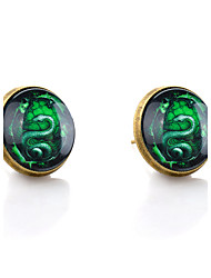 Lureme® Vintage Jewelry Time Gem Series Green Snake Antique Bronze Stud Earrings for Women and Girls