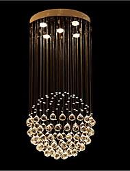 lustres de cristal lâmpadas LED 5 luzes modernos prata canpoy rodada de cristal k9 transparente luminárias sala de estar