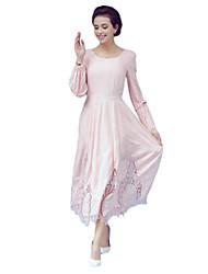 Women's Simple / Cute Patchwork A Line Dress,Round Neck Maxi Cotton