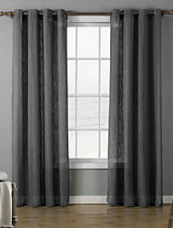 Two Panels Modern Solid Grey / Purple Living Room Polyester Panel Curtains Drapes 140cm Per Panel