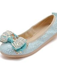 Women's / Girl's Spring / Summer / Fall Comfort Leatherette Outdoor / Casual / Dress Flat Heel Bowknot Blue / Pink / Beige