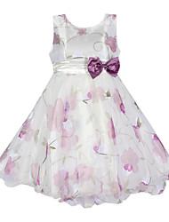 Girl's Floral Dress,Organic Cotton / Organza All Seasons White