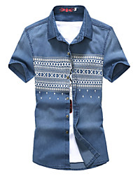 Men's Fashion Print Slim Fit Short Sleeve Denim Shirt, Cotton/Polyester