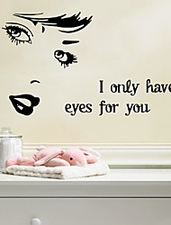 "Art Wall Stickers ""I Only Have Eyes For You"" Diy Home Decorations Wall Decals Living Room Quote"