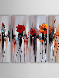 Oil Painting Abstract Flower  Set of 4 Hand Painted Canvas with Stretched Framed