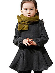Girl's Red / Gray Dress,Ruffle Cotton Winter