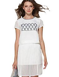 Women's 2 Pcs Suits Embroidery Top Hem Skirt