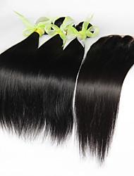 Capelli vergini 3 pacchi peruviano dritto con chiusura capelli umani non trattati tesse e chiusure del merletto liberi / mezzo / 3 parte