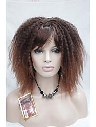 Mujer Pelucas sintéticas Sin Tapa Rizado rizado Afro Con flequillo Las pelucas del traje