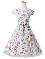50s Era Vintage Style Cap Sleeves Rockabilly Dress Cosplay Costume Mint Floral (with Petticoat)