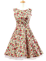 50s Era Vintage Style Sleeveless Rockabilly Dress Audrey Hepburn Cosplay Costume Pink Floral (with Petticoat)