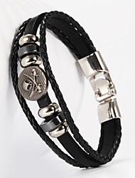 Three Layer Buckle Skull Shape PU Leather Men's Bracelet