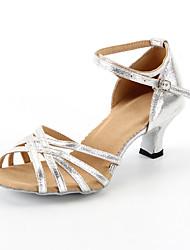 Customizable Women's Dance Shoes Latin  Customized Heel Black / Blue / Red / Silver / Gold