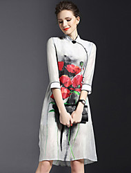Women's Simple Floral Sheath Dress,Stand Knee-length Polyester / Nylon