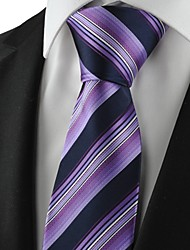 New Striped Purple Black Mens Tie Suit Necktie Party Wedding Holiday Gift KT1074