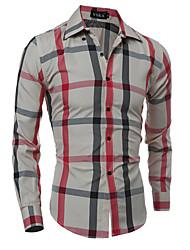 Camisa De los hombres A Cuadros Casual / Formal-Algodón-Manga Larga-Negro / Beige