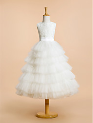 LAN TING BRIDE A-line Tea-length Flower Girl Dress - Lace Tulle Jewel with Lace