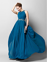 Formal Evening Dress Sheath / Column Jewel Floor-length Chiffon with Appliques / Beading / Draping / Side Draping