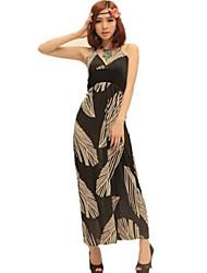 Women's Boho Print Sheath Dress,Halter Maxi Polyester