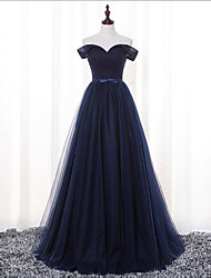 Floor-length Satin / Tulle Bridesmaid Dress - A-line Off-the-shoulder with Sash / Ribbon / Criss Cross