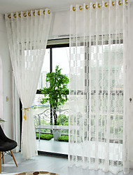 Jacquard  Check Sheer Curtain (Two Panel)
