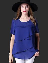 Tee-shirt Aux femmes,Couleur Pleine Décontracté / Quotidien Grandes Tailles / simple Eté Manches Courtes Col Arrondi BleuCoton /