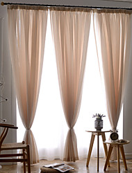 Two Panels Modern Solid Living Room Polyester Sheer Curtains Shades