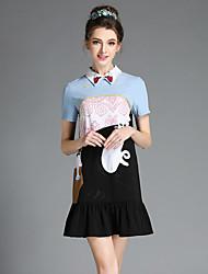 aofuli europa moda feminina patchwork plissado plissado gato bordado bonito do vintage plus size vestido de manga curta