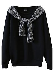 Damen Hoodies Lässig/Alltäglich Einfach Patchwork Weiß / Schwarz Baumwolle