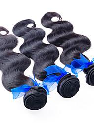 """3pcs / lot 300g malasia barata extensiones virginales del pelo negro natural onda del cuerpo de la armadura del pelo 8 """"-26"""" venta"""