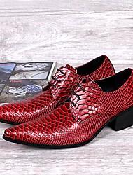 Sapatos Masculinos Oxfords Vermelho Couro Casamento / Escritório & Trabalho / Festas & Noite