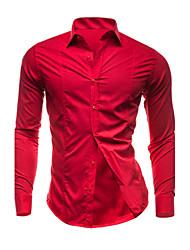 Мужской Однотонный Рубашка На каждый день / Большие размеры,Хлопок,Длинный рукав,Черный / Синий / Фиолетовый / Красный / Белый
