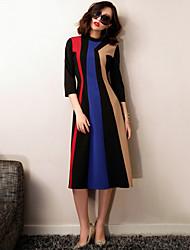 De las mujeres Vaina Vestido Para Trabajo / Simple Bloques Midi Escote Chino Poliéster