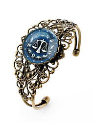 Lureme® Vintage Jewelry Time Gem The Zodiac Series Libra Antique Bronze Hollow Flower Open Bangle Bracelet for Women
