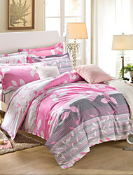 Gray and pink 100% Cotton Bedclothes 4pcs Bedding Set Queen Size Duvet Cover Set