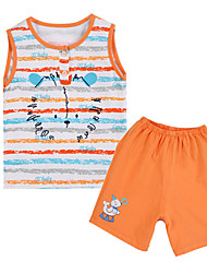 Girl's Brown / Orange Clothing Set Cotton Summer / Spring