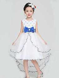 A-line Knee-length Flower Girl Dress - Organza / Satin / Polyester Sleeveless Jewel with
