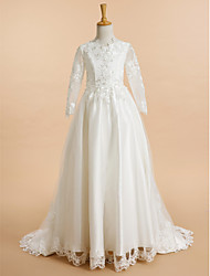 Lanting Bride ® A-line Sweep / Brush Train Flower Girl Dress - Lace / Tulle Long Sleeve V-neck with Appliques